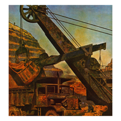 """Mining for Ore,"" November 22, 1947 Giclee Print by John Atherton"