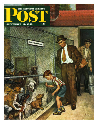 """""""Dog Pound,"""" Saturday Evening Post Cover, September 17, 1949 Giclee Print by Amos Sewell"""