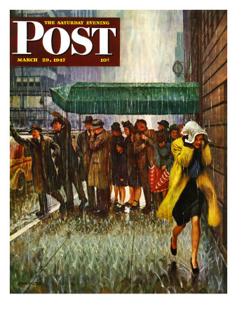 """""""Rainy Wait for a Cab,"""" Saturday Evening Post Cover, March 29, 1947 Giclee Print by John Falter"""