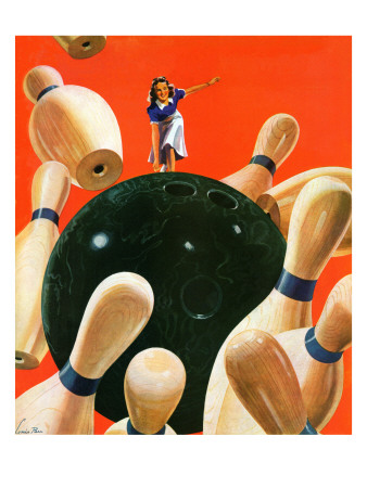 """""""Bowling Strike,"""" March 15, 1941 Giclee Print by Lonie Bee"""