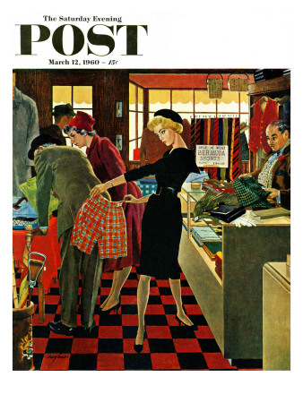 """""""Bermuda Shorts,"""" Saturday Evening Post Cover, March 12, 1960 Giclee Print by George Hughes"""