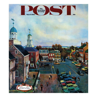 """""""Town Square, New Castle Delaware,"""" Saturday Evening Post Cover, March 17, 1962 Giclee Print by John Falter"""