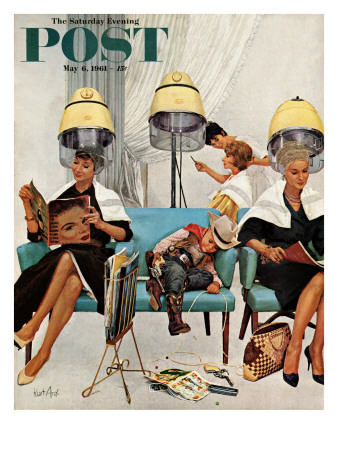 """""""Cowboy Asleep in Beauty Salon,"""" Saturday Evening Post Cover, May 6, 1961 Giclee Print by Kurt Ard"""
