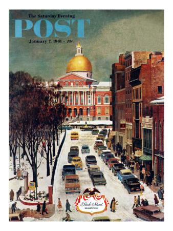 """Park Street, Boston,"" Saturday Evening Post Cover, January 7, 1961 Giclee Print by John Falter"