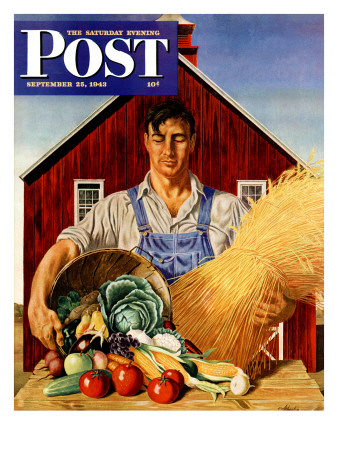 """""""Fall Bounty,"""" Saturday Evening Post Cover, September 25, 1943 Giclee Print by John Atherton"""