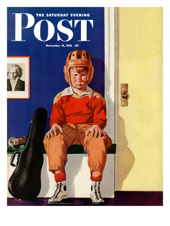 """""""Musical Sport,"""" Saturday Evening Post Cover, November 14, 1942 Giclee Print by Lonie Bee"""