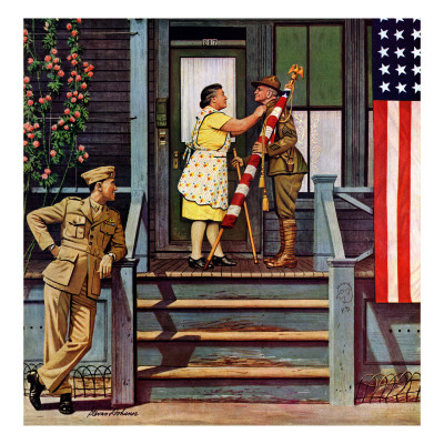 """Two Generations of Vets,"" July 5, 1947 Giclee Print by Stevan Dohanos"