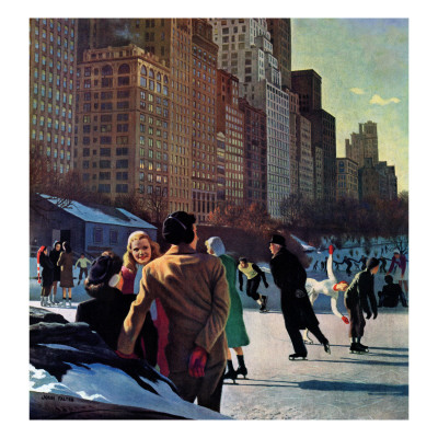 """Skaters in Central Park,"" February 7, 1948 Giclee Print by John Falter"