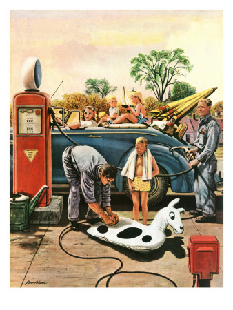 """Inflating Beach Toy,"" August 20, 1949 Giclee Print by Stevan Dohanos"