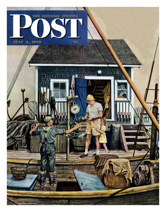 """Buying Lobsters,"" Saturday Evening Post Cover, July 2, 1949 Giclee Print by Stevan Dohanos"