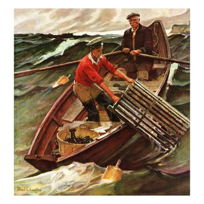 """""""Lobstermen,"""" March 9, 1946 Giclee Print by Mead Schaeffer"""