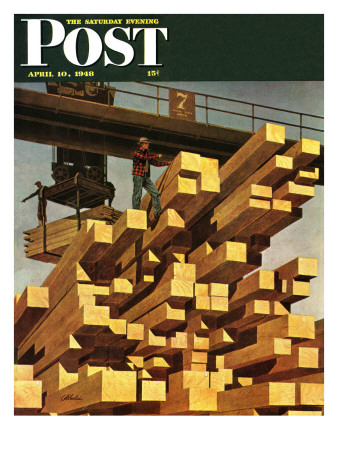 """Oregon Sawmill & Lumberyard,"" Saturday Evening Post Cover, April 10, 1948 Giclee Print by John Atherton"