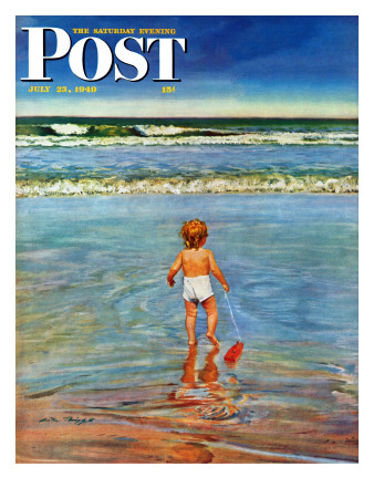 """""""Baby at the Beach,"""" Saturday Evening Post Cover, July 23, 1949 Giclee Print by Austin Briggs"""