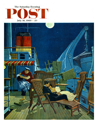 """""""Romantic Night on Deck,"""" Saturday Evening Post Cover, July 16, 1960 Giclee Print by James Williamson"""