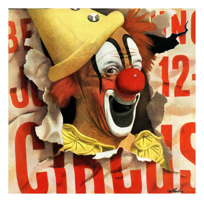 """Circus Clown and Poster,"" July 8, 1944 Giclee Print by John Atherton"