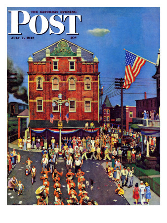 """""""Independence Parade,"""" Saturday Evening Post Cover, July 7, 1945 Giclee Print by John Falter"""