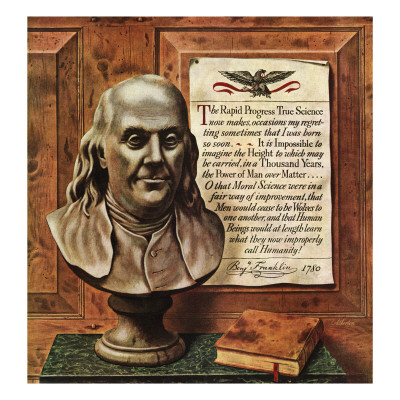 """Benjamin Franklin - bust and quote,"" January 19, 1946 Giclee Print by John Atherton"
