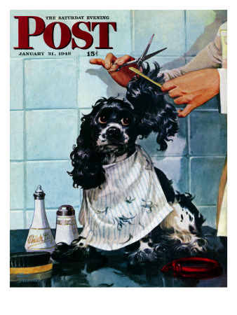 """Butch's Haircut,"" Saturday Evening Post Cover, January 31, 1948 Giclee Print by Albert Staehle"