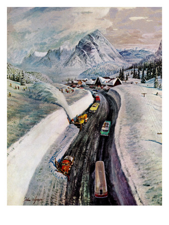 """""""Snowplows at Snoqualmie Pass,"""" February 6, 1960 Giclee Print by John Clymer"""