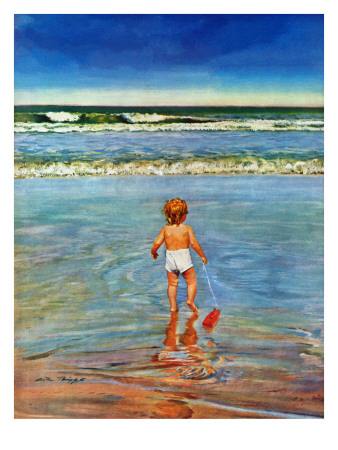 """""""Baby at the Beach,"""" July 23, 1949 Giclee Print by Austin Briggs"""