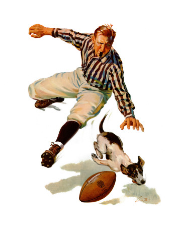 """""""Dog on the Field,"""" October 18, 1941 Giclee Print by Lonie Bee"""
