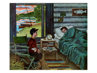 """""""Dad, the Fish are Biting,"""" August 25, 1962 Giclee Print by Amos Sewell"""