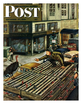 """""""Turkey Loose Atop Truck,"""" Saturday Evening Post Cover, November 27, 1948 Giclee Print by Constantin Alajalov"""