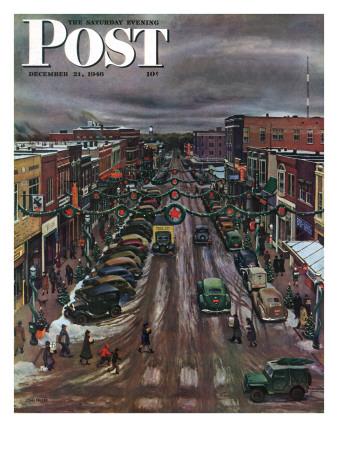 """Falls City, Nebraska at Christmas,"" Saturday Evening Post Cover, December 21, 1946 Giclee Print by John Falter"