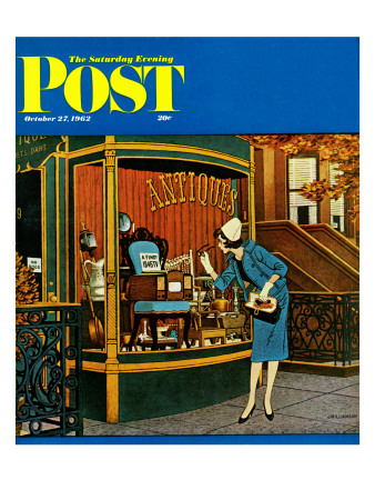 """""""Antique TV,"""" Saturday Evening Post Cover, October 27, 1962 Giclee Print by James Williamson"""
