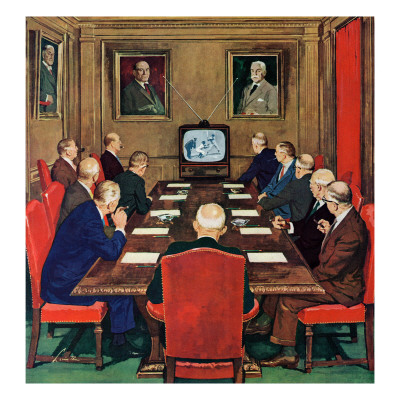 """Baseball in the Boardroom,"" October 8, 1960 Giclee Print by Lonie Bee"