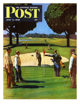"""""""Sand Trap,"""" Saturday Evening Post Cover, July 3, 1948 Giclee Print by John Falter"""