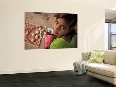 Young Girl Preparing Dough for Roti Wall Mural by April Maciborka