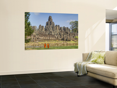 Monks Looking at Bayon Temple, Angkor, Siem Reap, Cambodia Wall Mural