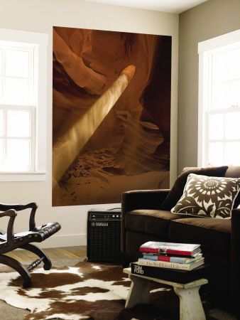 Sunbeam Penetrates Dusty Air of Canyon, Lower Antelope Canyon, Arizona, USA Wall Mural by Cathy & Gordon Illg