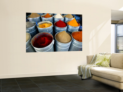 Colourful Piles of Spices on Display in Spice Souk Wall Mural by Doug McKinlay