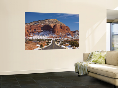 Route 24 in Winter, Capitol Reef National Park, Torrey, Utah, USA Wall Mural by Walter Bibikow