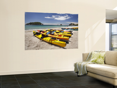 Kayaks on Beach, Hahei, Coromandel Peninsula, North Island, New Zealand Wall Mural by David Wall