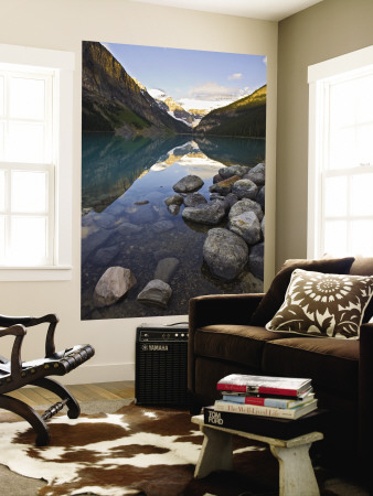 Rocky Mountains and Boulders Reflected in Lake Louise, Banff National Park, Alberta, Canada Wall Mural by Larry Ditto