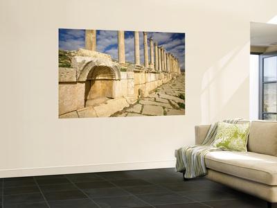 Corinthian Columns and Tracks of Chariot Wheels, Jerash, Jordan Wall Mural by Dave Bartruff