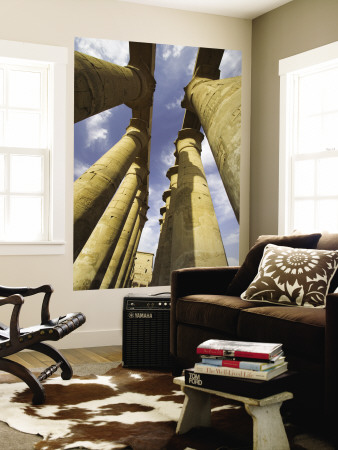 Column With Visual Art Carved Into Them Luxor Temple, Luxor, Egypt Wall Mural by Darrell Gulin