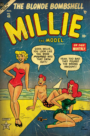 Marvel Comics Retro: Millie the Model Comic Book Cover #45, in Bathing Suit, at the Beach (aged) Wall Mural