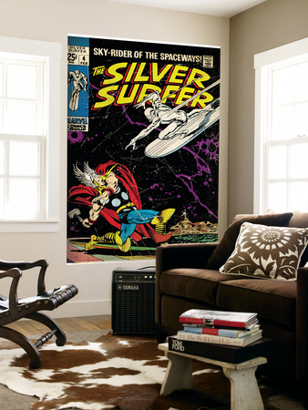 Marvel Comics Retro: Silver Surfer Comic Book Cover #4, Thor (aged) Mural