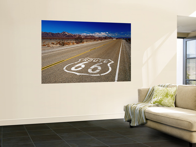 Route 66 Sign on Highway Near Amboy, Mojave Desert, California Wall Mural