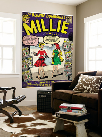 Marvel Comics Retro: Millie the Model Comic Book Cover No.100, How Millie First Met Chili! (aged) Wall Mural