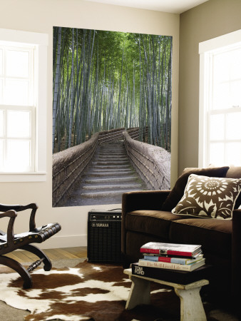 Stairway Through Bamboo Grove Above Adashino Nembutsu-Ji Temple Wall Mural