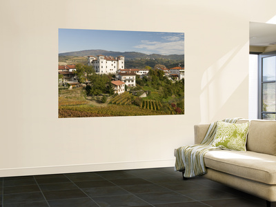 Vineyards, Dobrovo Castle and Town in Goriska Brdy Wine Region Wall Mural