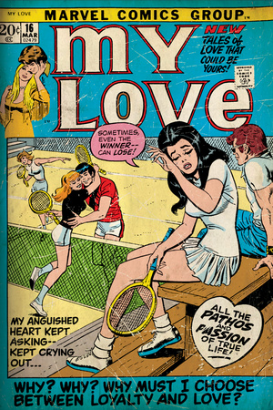 Marvel Comics Retro: My Love Comic Book Cover No.16, Tennis, Pathos and Passion (aged) Wall Mural