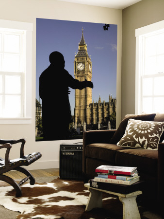Statue of Nelson Mandela and Big Ben, Parliament Square Wall Mural by Doug McKinlay