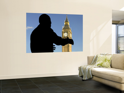 Nelson Mandela Statue and Big Ben, Parliament Square Wall Mural by Doug McKinlay