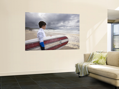 Young Surfer at Meron Beach Wall Mural by Diego Lezama